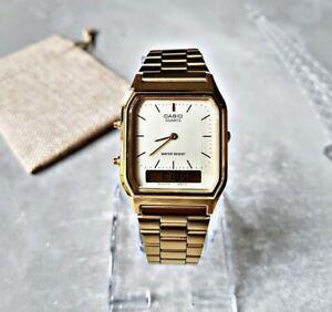 Casio Armbanduhr Herrenuhr Uhr Armbanduhr Chronograph Edelstahl Vintage AQ230