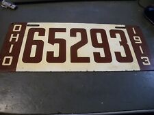 Antique Ohio license Plate 1913 Vintage Car Truck Parts Old 5 Digit Maroon White