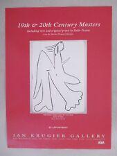 Pablo Picasso Art Gallery Exhibit PRINT AD - 2004