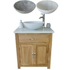 Bathroom Vanity Unit | Solid Oak | With White Quartz Top & White or Grey Marble