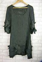 Alquema Scrunch dress A-line Black Sz 1, 8 3/4 sleeves