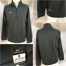 Nike Dri-Fit Pullover M Gray Poly 1/4 Zip Long Sleeve Euc Ygi B8-257
