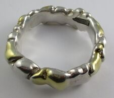 Sterling Silver Freeform BANGLE BRACELET 2 Tone Silver & Gold 46 Grams Chunky
