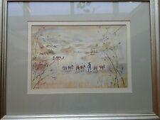Bert A Krawczyk Rice Planting Yunnan China Framed Watercolor Reproduction Signed