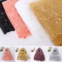 Women Muslim Beaded Long Scarf Wrap Scarves Shawl Stole Headwear Arab 180*90cm
