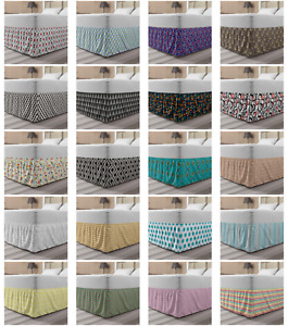 Ambesonne Geometric Bedskirt Elastic Wrap Around Skirt Gathered Design