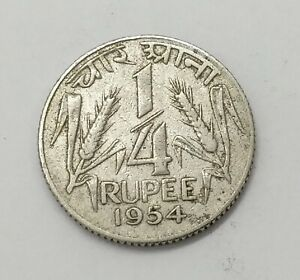 1954 India 1/4 Rupee - KM# 5.2 | 'Large Lion' | Indian Coin