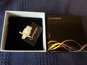 buckingham owl broach badge in box