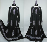 Dubai Abaya Jilabiya Kaftan Maxi Dress Flare Umbrella Silver Rhinestones Black