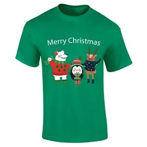 Mens Merry Christmas Reindeer Printed T Shirt Boys ELF Snowman Short Sleeve Top