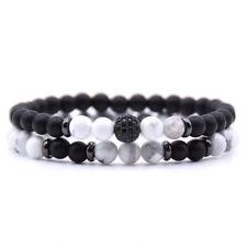 2Pcs/set Women/Men Lava Rock Chakra Beads 6mm Natural Stone Bracelet Bangle Gift