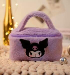 kuromi purple fuzzy Plush Makeup Box Cosmetic Bag Beauty Case handbag fashion