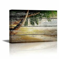 "Canvas Prints- Tropical Beach with Palm Tree on Wood Background - 16"" x 24"""