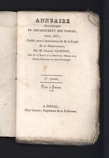 █ Charles CHARTON Annuaire statistique du Département des VOSGES pour 1831 █