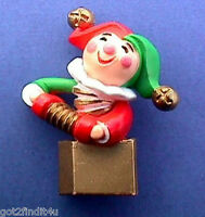 Hallmark PIN Christmas Vintage JACK in THE BOX Toy Clown Jester Holiday Brooch
