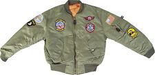 Kid's Ma1 Size XS Olive Green Flight Jacket Military