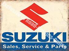 Suzuki Classic 70's Retro Motorcycle, Bike 109 Old Garage, Large Metal/Tin Sign