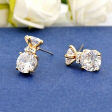 New 18K Yellow Gold Filled Womens 8mm SIMULATED DIAMOND Stud Earring Lovely Gift