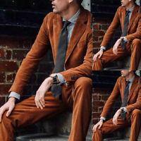 Men Corduroy Suits Vintage Slim Fit Notch Lapel Formal Tuxedos 38 40 42 44 46 48