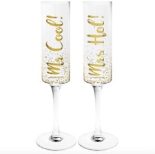 """Mr Cool and Mrs Hot Champagne/Wine Twin Flutes Gift Set """"Gold Edition"""""""