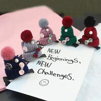 Accessories Fashion Women Children Gift Christmas Hair Clip Knitted Hat Shaped