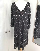 Debenhams The Collection Dress Size 20 Black White Spotted Wrap Front 3/4 Sleeve