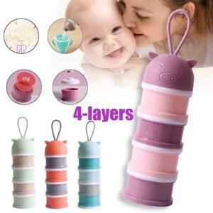 4 Layers Baby Travel Milk Powder Dispenser Container Storage Formula Feeding Box
