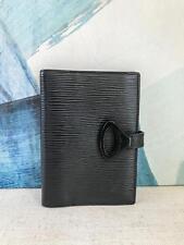 $650 LOUIS VUITTON Black Epi Leather Agenda PM Cover Organizer Snap closure SALE