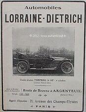 PUBLICITE AUTOMOBILE LORRAINE DIETRICH DOUBLE PHAETON TORPEDO DE 1911 FRENCH AD