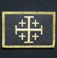 JERUSALEM CROSS CRUSADER GOLD JIHAD TACTICAL HOOK ARMY MORALE BADGE PATCH