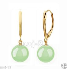 14k Gold Plated Leverback Dangle Earrings 10mm Natural Light Green Jadeite Jade