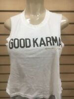 Spiritual Gangster women's good karma new Tank  yoga off white cropped tee top l