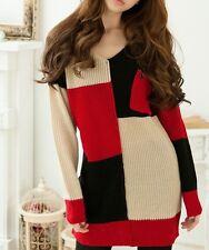 Caldo maglione maxi maglia abito donna colorato nero rosso beige misto lana 4263
