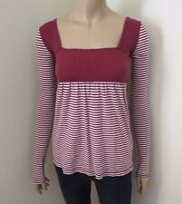 Hollister Womens Vintage Babydoll Striped Top Shirt Size XS Burgundy & White