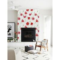 Removable wallpaper Red poppy flowers Floral home decor  self adhesive