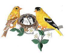 Finch - Birds - Yellow Finch W/Nest - Embroidered Iron On Applique Patch