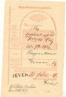 """OLDENBURG - NORDDEUTSCHER BUND """"JEVER"""" L1 a. Post-Einlieferungsschein, 1869 Pra."""