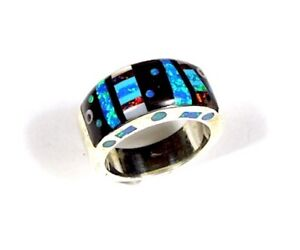Multicolor & Opal Inlay Southwest 925 Sterling Silver Men's Band Ring Sz 10 - 11