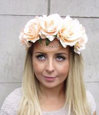 Large Peach Gold Chain Rose Flower Garland Headband Hair Crown Festival Vtg 2930