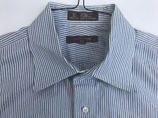 NORDSTROM BLUE-TAN STRIPED 100% COTTON DRESS SHIRT EXCELLENT COND SIZE 16.5-35