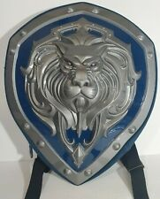 """World of Warcraft Alliance Shield Backpack Lion Head Cosplay 20""""x17"""" Blue Silver"""