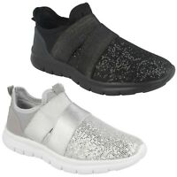 LADIES SPARKLY BLACK SILVER SLIP ON SPORTS TRAINERS AIR TECH RAFFERTY SIZE 4 - 8