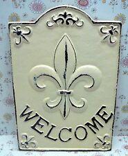 Fleur de lis Cast Iron Welcome Door Sign FDL Paris French Shabby Chic Off White