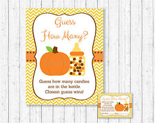 "Pumpkin Chevron Printable Baby Shower ""Guess How Many?"" Game Cards"