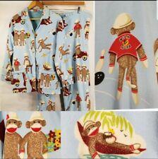 Nick Nora Medium Pajamas Set PJs Flannel Sock Monkey San Simian Bowling Blue