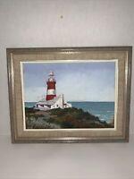 "Original Art Acrylic Painting 9x5"" Lighthouse Sea Shore Framed 15x12"" Signed"