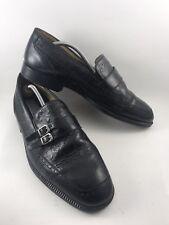 Adolfo Mens Sz 11.5M Black Leather Moc MonkStrap SlipOn Dress Casual Loafers-529