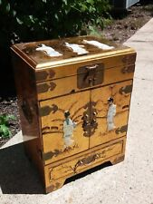Vintage Asian Tansu Chest Jewelry Box Gold Gilt Brass Carved MOP Geisha Music LG