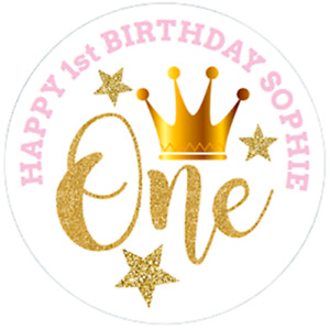 48 Personalised Party Bag Stickers 1st Birthday 40mm Sweet cone Labels
