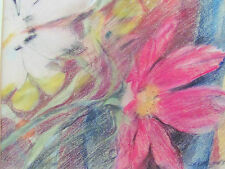 L.A. ANDERSON  - TROPICAL FLOWERS - PASTEL PAINTING - 1983 - FREE SHIP IN THE US